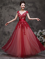 Formal Evening Dress-Burgundy A-line Scoop Floor-length Tulle