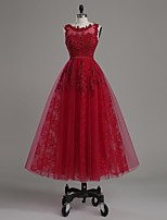Cocktail Party Dress-Burgundy Ball Gown Scoop Ankle-length Lace / Satin / Tulle