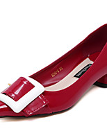Women's Shoes Patent Leather Chunky Heel Pointed Toe / Closed Toe Heels Wedding /Party & Evening / DressBlack / Red /