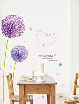 Purple Dandelion Wall Decals Romance / Florals / Landscape Wall Stickers Plane Wall Stickers,pvc 50*70CM