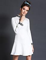 Fashion Plus Size Women Vintage Luxury Bead Ruffle Patchwork Long Sleeve Slim Simple Party/Daily Short Dress
