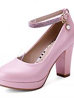 Zapatos de mujer-Tacón Robusto-Tacones-Tacones-Exterior / Oficina y Trabajo / Vestido-Semicuero-Azul / Rojo / Blanco
