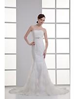 Trumpet / Mermaid Wedding Dress Court Train Strapless Organza / Satin with Appliques / Beading / Sash / Ribbon