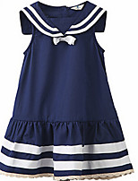 Girl's Blue Dress,Stripes Cotton Summer / Spring