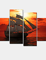 4 Pcs/set Landscape Combined Painting Prints On Canvas 2016 Brand New The Sunset Galleon Wall Picture Hotel Decor