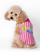 Dog Shirt / T-Shirt / Clothes/Clothing Blue / Pink Summer Cartoon / Plaid/Check Striped-Lovoyager