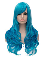 Top Quality Long Wavy Blue Color Cosplay Hair Synthetic Wig