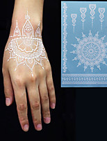 White Lace Temporary Tattoo Sticker Waterproof Henna Tatoo Bracelet Sleeve Flash Fake Tatouage Women Body Art Jewelry