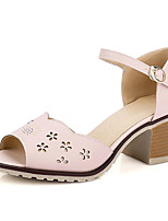 Women's Shoes Chunky Heel Peep Toe / Open Toe Sandals Outdoor / Dress / Casual Pink / Gray / Almond