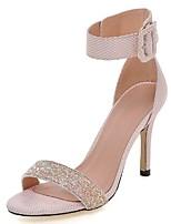 Zapatos de mujer-Tacón Stiletto-Tacones / Tira en el Tobillo-Sandalias-Boda / Vestido / Fiesta y Noche-Purpurina-Rosa / Blanco / Gris