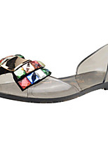 Women's Shoes PU Flat Heel Open Toe Sandals Outdoor / Dress / Casual White / Gray / Champagne