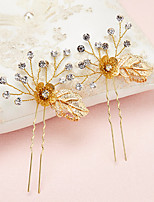 Women's / Flower Girl's Rhinestone / Alloy Headpiece-Wedding / Special Occasion Hair Pin 2 Pieces