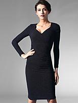 Baoyan® Women's V Neck Long Sleeve Above Knee Dress-150847