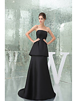 Formal Evening Dress-Black A-line Strapless Sweep/Brush Train Taffeta