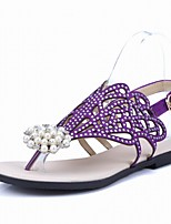 Women's Shoes Flat Heel Slingback / Flip Flops / Open Toe Sandals / Dress / Black / Purple