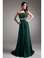 Formal Evening Dress-Dark Green A-line Strapless Sweep/Brush Train Chiffon