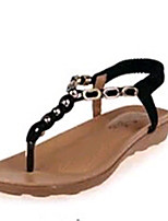 Chaussures Femme-Extérieure / Habillé / Décontracté / Sport-Noir / Beige-Talon Plat-Confort / Tongs-Sandales-PU