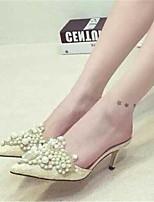 Calçados Femininos-Sandálias-Conforto-Salto Agulha-Rosa / Branco-Courino-Ar-Livre