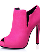 Scarpe Donna-Scarpe col tacco-Casual-Tacchi-Quadrato-Felpato-Nero / Verde / Rosa / Rosso / Grigio / Kaki