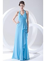 Formal Evening Dress Sheath/Column Halter Floor-length Chiffon