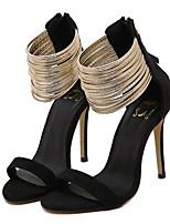 Women's Shoes Fleece Summer Heels Party & Evening Stiletto Heel Zipper Black / Almond