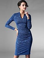 Baoyan® Women's V Neck Long Sleeve Above Knee Dress-150845