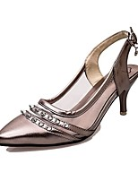 Women's Shoes Leatherette Flat Heel Pointed Toe Heels Outdoor / Office & Career / Casual Silver / Champagne