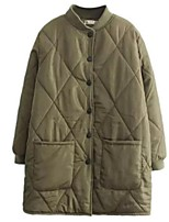 Women's Solid Black / Green Padded Coat,Street chic Stand Long Sleeve