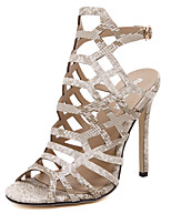Women's Shoes Microfibre Stiletto Heel Heels / Peep Toe Sandals / Heels Party & Evening / Dress / Casual Black / Almond