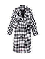 Women's Check White Pea Coats,Simple Long Sleeve Nylon