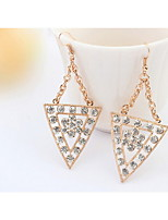 Punk Style Gold Alloy Super Flash Full Rhinestone Triangle Statement Stud Earrings Women Wonderful Jewelry
