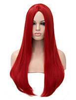 grande longueur couleur rouge cheveux raides armure européenne perruque synthétique