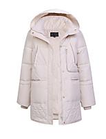 Women's Solid White / Black Padded Coat,Simple Hooded Long Sleeve