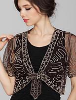 Women's Patchwork Grenadine Embroidered Vintage Temperament Blouse,V Neck Short Sleeve