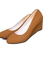 Chaussures Femme-Bureau & Travail / Décontracté-Noir / Kaki-Talon Compensé-Talons-Talons-Synthétique