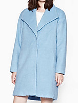 Women's Casual/Daily Plus Size Pea Coats,Solid Long Sleeve Winter Blue Polyester