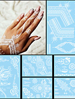 6PCS Fashion Flash Waterproof Tattoo White Ink Women Men Henna Strap Jewel Necklace Design