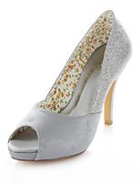 Women's Shoes Stretch Satin Stiletto Heel Heels / Peep Toe Sandals Wedding / Party & Evening / Dress Silver