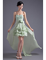 Cocktail Party Dress A-line Sweetheart Asymmetrical Chiffon with Beading / Side Draping