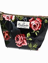 Women PU Casual Cosmetic Bag-Black 26cm*14.5cm*6cm
