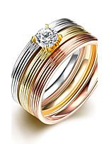 New 3pcs Luxury Noble Stripe Zricon Titanium Steel Fashion Ring Set
