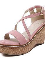 Calçados Femininos-Sandálias-Anabela / Saltos-Anabela-Preto / Rosa-Flanelado-Ar-Livre / Casual