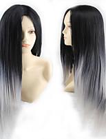 Fashion Cartoon Wig COS Black Gray Gradient Long Straight Hair Wig