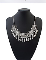 Ethnic Vintage Carved Flower Coin Tassel Choker Necklace Earrings Set Statement Necklaces Pendants Fine Jewelry