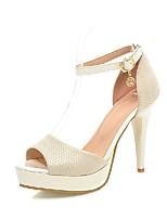 Chaussures Femme-Mariage / Extérieure / Bureau & Travail / Habillé-Noir / Beige-Talon Cône-Confort / Bout Arrondi-Sandales-Similicuir