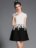 Women's Plus Size Elegant Resto Princess Hollw Embroidery Patchwork Short Sleeve Party/Daily Dress