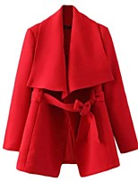 Women's Solid Red / Beige / Black Coat,Plus Size Long Sleeve Polyester