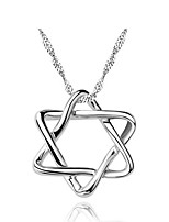 Classic 925 Real Sterling Silver Link Chain Star of David Pendant Hexagram Necklaces Women Zircon Statement Jewelry