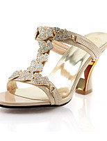 Women's Shoes Glitter Spring / Summer / Fall Heels / Comfort Sandals Wedding / Dress / Casual / Party & Evening Chunky Heel CrystalBlack