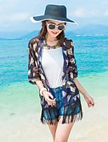 Women's Beach Boho / Street chic Summer Shirt,Animal Print V Neck ½ Length Sleeve White / Black Rayon / Polyester Thin